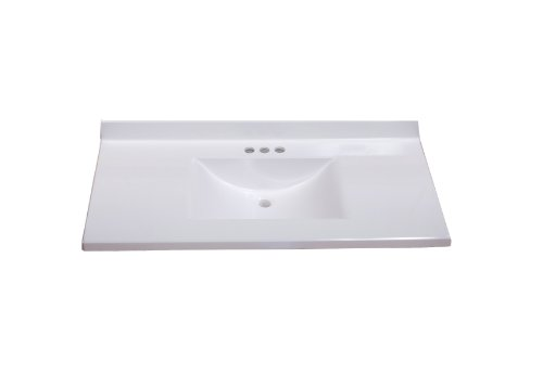 Imperial VW3722SPW Center Wave Bowl Bathroom Vanity Top, 37-Inch Wide by 22-Inch Deep, Solid White Gloss Finish