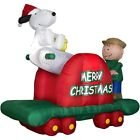 Peanuts Christmas Snoopy & Charlie Brown Handcar
