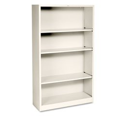 ** Metal Bookcase, 4 Shelves, 34-1/2w x 12-5/8d x 59h, Putty **