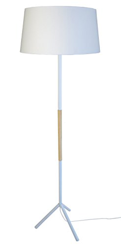 tosel-51034-trident-lampadaire-trepied-acier-peinture-epoxy-cuivre-bois-blanc-400-x-1600-mm