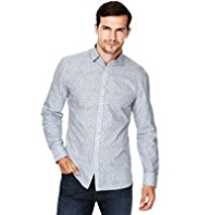 2in Longer Blue Harbour Pure Cotton Fine Leaf Print Shirt