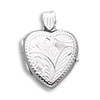Silverflake -Small Etched Heart Locket