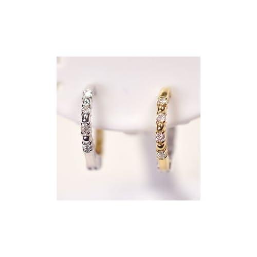 [キュートジュエリー]Cute jewerly K18&K18WG・ダイヤモンド0.1ct ピアリング