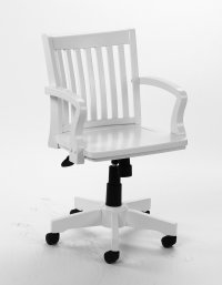 Classic Wood Banker's Chair In Cottage White Finish With Arms
