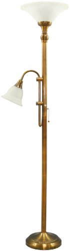 Grandrich G-5206 AB Alabaster Glass Shade Floor Lamp with Reader, Antique Bronze