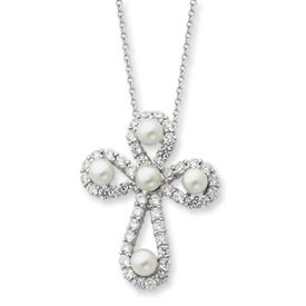 Sterling Silver Cultured Pearl CZ Cross Necklace - 18 Inch - JewelryWeb