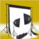CowboyStudio 600 Watt Photo Studio Monolight Flash Lighting Kit with 2 Studio Flash/Strobes, 2 Softboxes, 1 Background Support System, Black & White Muslin Backdrops and Carry Case