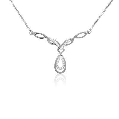 925 Sterling Silver Cable Chain Necklace with Luxurious Design CZ Diamond Accented Drop Pendant(WoW !With Purchase Over $50 Receive A Marcrame Bracelet Free)