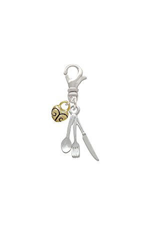 Fork Knife And Spoon Mini Gold Tone Heart Clip On Charm