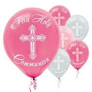 Girl's - Pink and Silver First Holy Communion Latex Balloons - 15ct