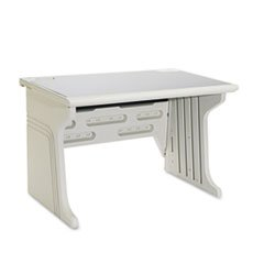 * Aspira Modular Workstation Desk, Resin, 48W X 28D X 30H, Platinum front-623273