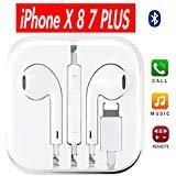 Earbuds, Romoca iPhone Headphones with microphone Best Lightning Earphones for iPhone 7 7 plus 8 8 plus X Earbuds Earphones (white) (Color: white)