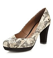 Footglove™ Leather Faux Snakeskin Print Asymmetric Court Shoes