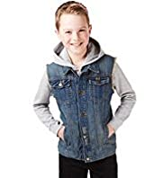 2 Piece Denim Gilet & Hooded Top Outfit