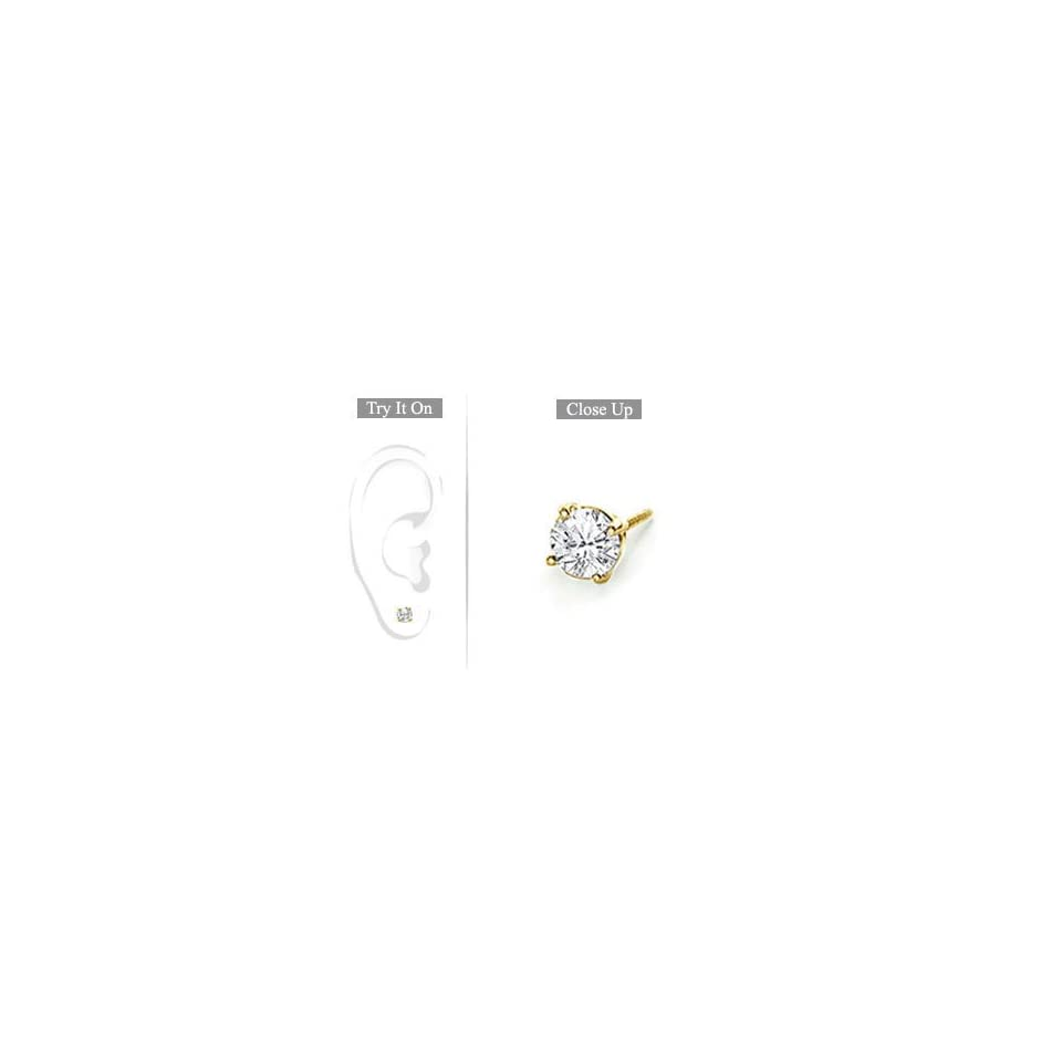 Fine Jewelry Vault SCMER18YG4RD033D Mens 18K Yellow Gold   Round Diamond Stud Earring   0.33 CT. TW.