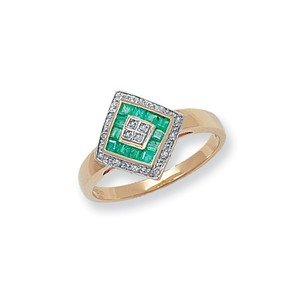 Unique Wishlist 9ct Yellow Gold Emerald & 8pt Diamond Off-Set Square Ring