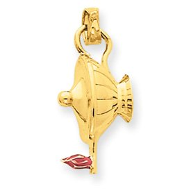14k Enameled Genie Lamp Pendant - JewelryWeb