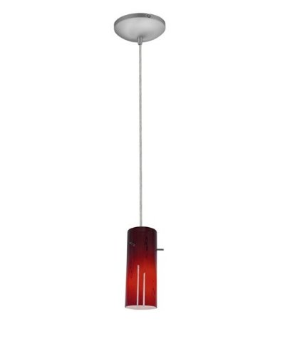 Access Lighting 28030-1C-BS/RUSKY SydneyCylinder Glass Pendant with Ruby Sky Glass Shade, Brushed Steel Finish