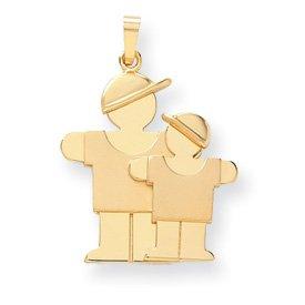 14k Big Boy and Little Boy Engraveable Charm - JewelryWeb