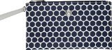 Michael Kors Kiki Printed Dot Large Zip Clutch in White & Navy