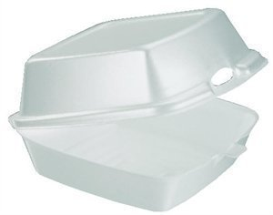 Dart HT1 5.1 Inch Length by 5.4 Inch Width by 2.9 Inch Height 5 Inch White Medium Sandwich Foam Hinged Lid Carryout Container 125-Pack (Case of 4)