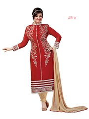 Shaily Retails Women's Red Cotton unstiched Dress Material