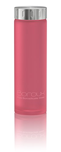 Boroux Spectrum Glass Water Bottle .5 liters- Protective Silikote Technology Adhered to Eco Friendly BPA Free Pure Borosilicate Glass. Perfect for Essential Oils, Juicing, & Smoothies (Mason Jar Water Bottle Pink compare prices)