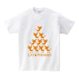 組体操猫Tシャツ ホワイト XL