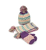 Heart Print Knitted Hat, Scarf & Gloves Set