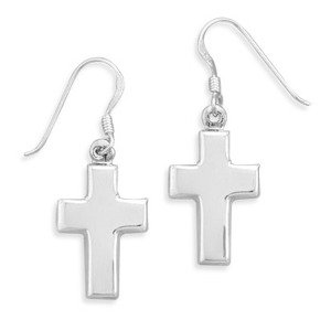 Polished Cross Dangle Earrings Sterling Silver Medium Size