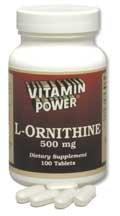 L-Ornithine, 100 500mg Amino Acid Tablets per Bottle (4 Pack)