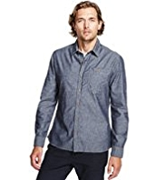 North Coast Pure Cotton Slim Fit Flecked Shirt