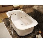Maax 105756055001 Miles Freestanding Bathtub with White Apron and Massage System 105756055001