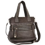 MG Collection Classic Brown Buckled Strips Satchel Handbag