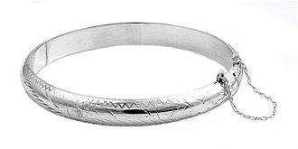 9mm Sterling Silver Engraved Bangle Bracelet - 9mm X 65mm