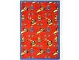 "Joy Carpets Playful Patterns Children's Pit Stop Area Rug, Red, 3'10"" x 5'4"""