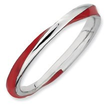 Awesome Twisted Red Enamel Stackable Ring. Sizes 5-10 Available