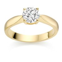 1/2 Carat F/VS2 Round Brilliant Certified Diamond Solitaire Engagement Ring in 18k Yellow Gold