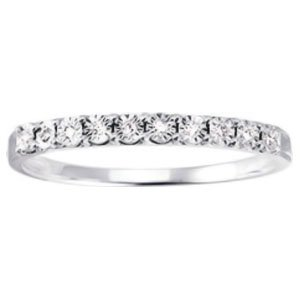 So Chic Jewels - 9k White Gold 0.04 ct Diamond 2 mm Half Eternity Wedding Band Ring