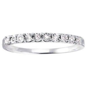 So Chic Jewels - 9k White Gold 0.04 ct Diamond 2 mm Half Eternity Wedding Band Ring