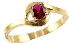 14k Yellow Gold, Simple and Classic Design Ring with Lab Created Colored Birthstone