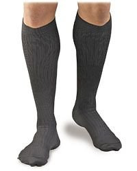 Activa Men's Microfiber Pinstripe Dress Socks 20-30 mmHg Large Black - H3463