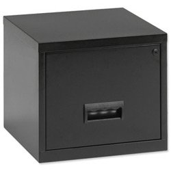 Pierre Henry Filing Cabinet Steel Lockable 1 Drawer A4 Maxi W400xD400xH360mm Black Ref 95010