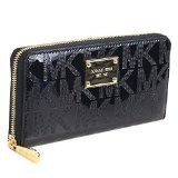 Michael Kors Zip Around Continental Mirror Metallic Black Signature Wallet