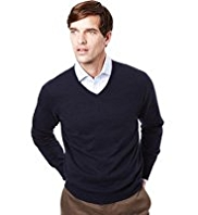 XS Collezione Cotton Rich V-Neck Jumper with Cashmere