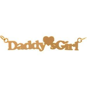 14k Gold Child Daddys Girl Pendant 15 In Chain 5.5x27.5mm - JewelryWeb