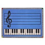 "Joy Carpets Kid Essentials Music & Special Needs Play Along Rug, Blue with Keys, 10'9"" x 13'2"""