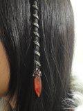 Extension capelli médiévales e CELTIQUE. Spirale celtica per cheveux. Treccia DECORATION celtico lunga CRISTAL. ORNEE di 1 grande cristallo e ambra 14 piccoli cristalli rosso & rosa pallido.