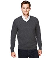 XXXL Blue Harbour Luxury Wool Rich V-Neck Jumper with Cashmere