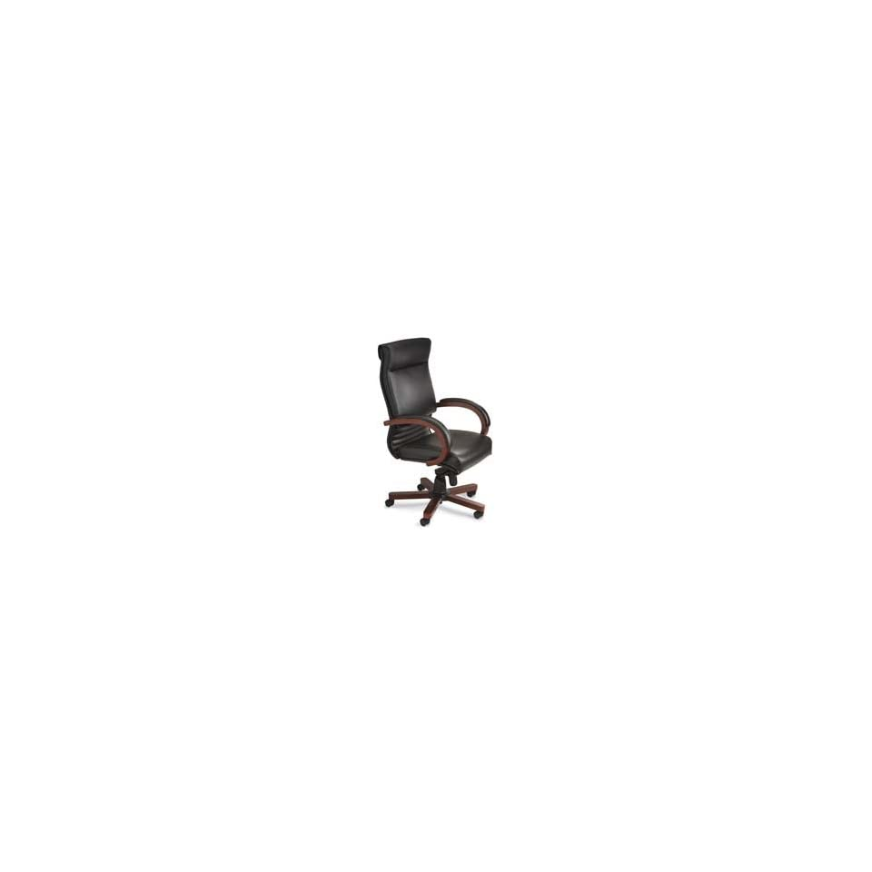 Mayline Group Products   Executive High Back Chair, 28x29x47 50, Sierra Cherry   Sold as 1 EA   Executive high back chair offers genuine leather upholstery with deep cushioned seat and back. Design features a wood five star base and solid wood armrests